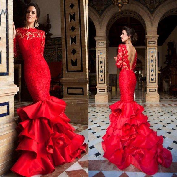 Red Lace Applique Mermaid Prom Dresses 2019 High Neck Layered Skirt Illusion Long Sleeves Backless Evening Dresses Party Gowns BA0603