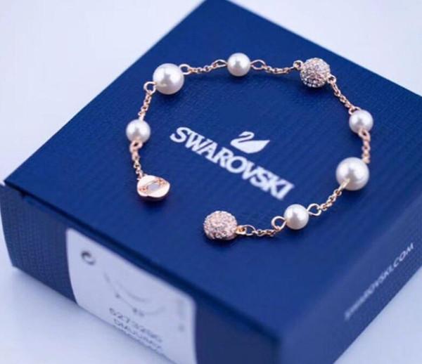 2019 Новые женщины SWA Роскошный дизайнерский браслет с элегантным A + Crystal Diamond Дизайнерские браслеты с жемчужными браслетами Ювелирные изделия