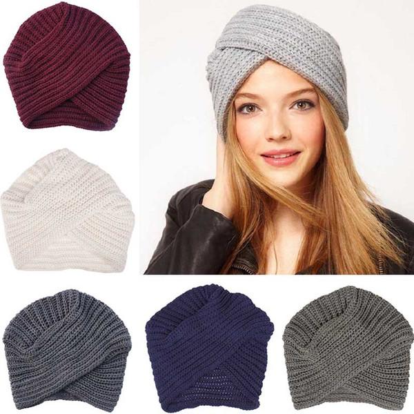 Knit Turban Cross Women's Winter Warm Knit Turban Cross Twist Arab Hair Wrap Solid Casual Skull & Beanies Hat Cap drop shipping