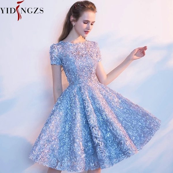 Yidingzs Elegant Gray Lace Prom Dress Simple Short Party Formal Gown J190629