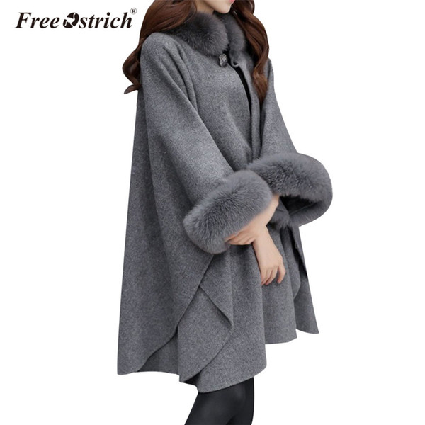 Free Ostrich Wool Coat Women Winter Solid Faux Fox Fur Collar Loose Coats Oversized Flare Sleeve Casual Poncho Outerwear L2940