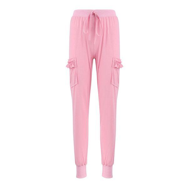 Ladies Elastic High Waist Bandage Pants Pockets Ruffles Leggings Daily Trousers Slim Solid Casual Pants Women Capri Fashion