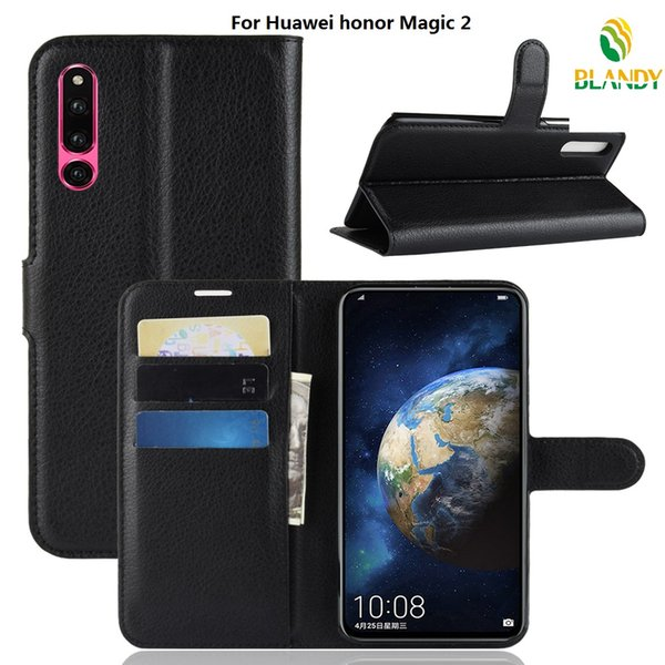 phone case For Huawei honor Magic 2 Litchi grain lychee wallet leather PU TPU phone cover Case For Huawei honor 10 lite