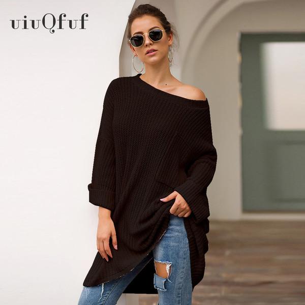 Pulls à col slash tricotés par Feminino avec poche automne hiver pull Mujer long pull oversize pour femme