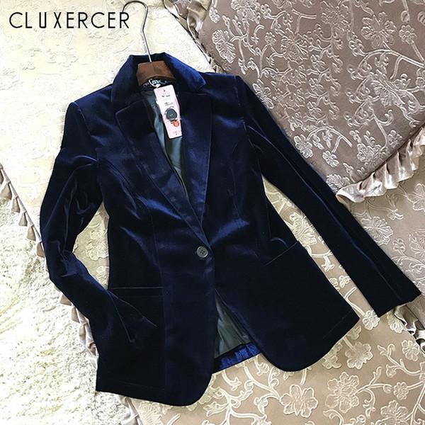 2018 New Velvet Mulheres Blazer Preto Azul Senhora Elegante Blazers Ternos Primavera Queda Plus Size Manga Comprida Magro Escritório Terno Casaco # 408468