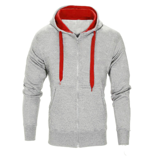 YOUYEDIAN moda casual cremallera con capucha hombres con cordón de manga larga sólido gimnasio deportes chaqueta chaqueta tops de primavera para hombres 2019 casual