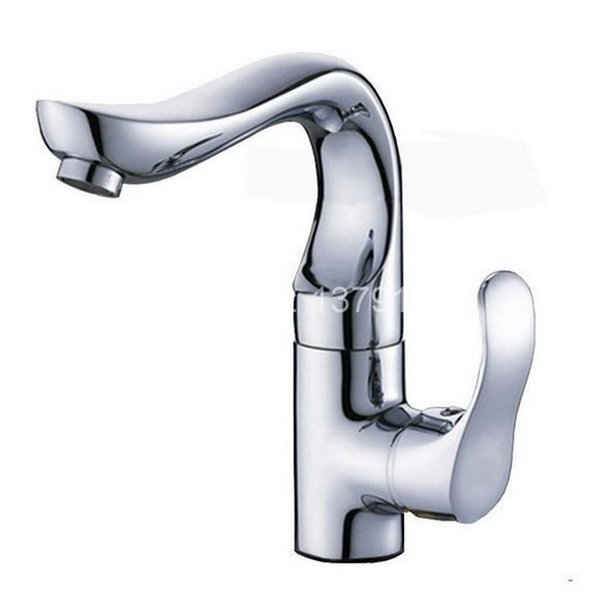 Polished Chrome Brass Single Lever Handle Swivel Kitchen Bathroom Vessel Sink Basin Faucet Mixer Taps anf070
