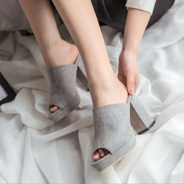 2019 Summer Fish Mouth Slipper Open Toed Sexy Square Heel Women Shoes Sandals Slippers Fashion Suede High Heel Slippers A450