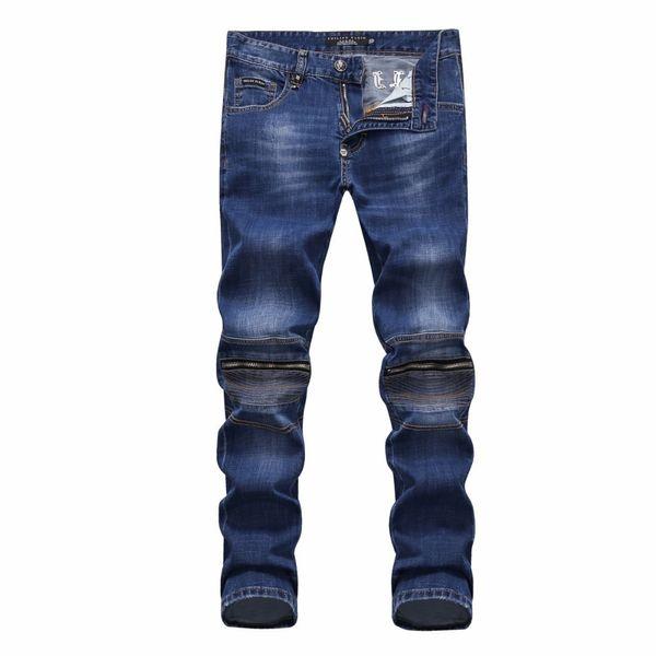 Calças de brim das calças dos PP dos homens calça jeans de grife Tendência zíper decoração de moda de alta qualidade jeans macios tamanho do bolso 28-38