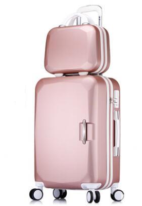 Mujeres ABS Juego de equipaje y bolsa de cosméticos Conjunto de bloques de colores codificados en color 20/22/24/26 pulgadas Oro rosa / Rosa / Verde menta / Azul agua