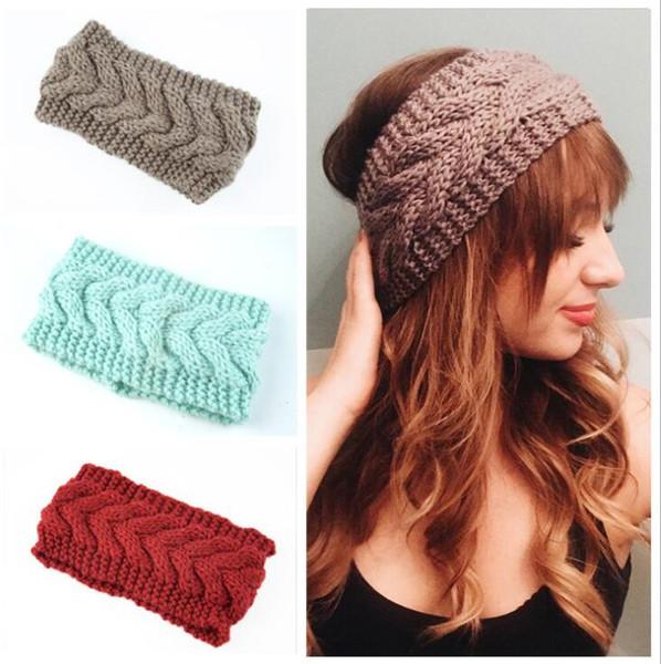 Çocuk Örme Bantlar Kız Candy Renk Elastik Kalınlaşmış Kafa Lady Tığ Turban Kış Sıcak Kulak Saç Bandı Aksesuarlar WY223