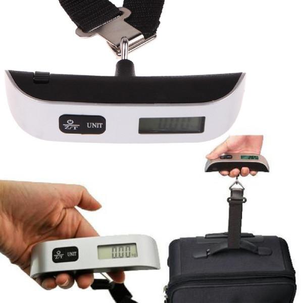 1pcs display LCD tenuto in mano appeso scala 50kg viaggio portatile bagagli bagaglio valigia peso peso scala di pesatura digitale gancio