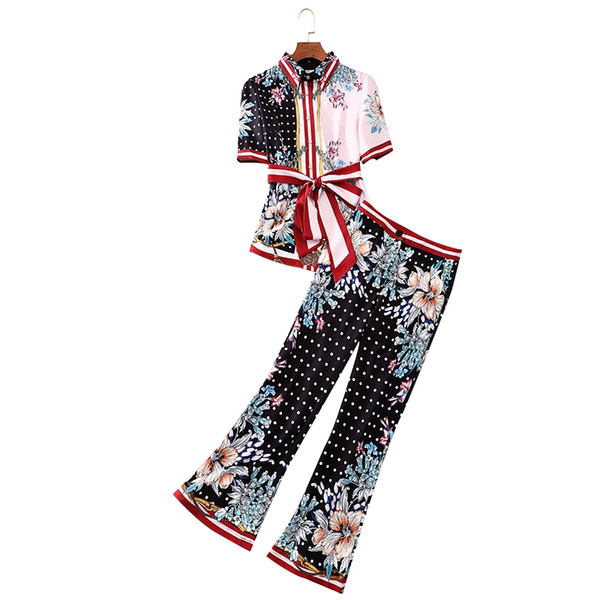 2019 Summer New Style High Street Stylish Anti-Aging Twinset Dot Flowers Print T-Shirt Blouse Top + Matched Long Pants 2 Pcs Set