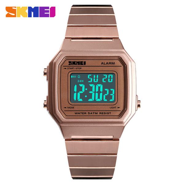 SKMEI 1377 Moda Casual Mulheres / Homens relógios de Pulso Digitais Pulseira de Aço Luminosa Week Display Alarme Relógios Masculinos erkek kol saati