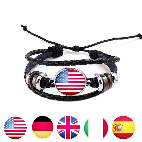 Bracciale bandiera nazionale USA UK France Flag Glass Cabochon Bracelet regolabile Multistrato Wrap Cuff Fashion Jewelry Ship Drop