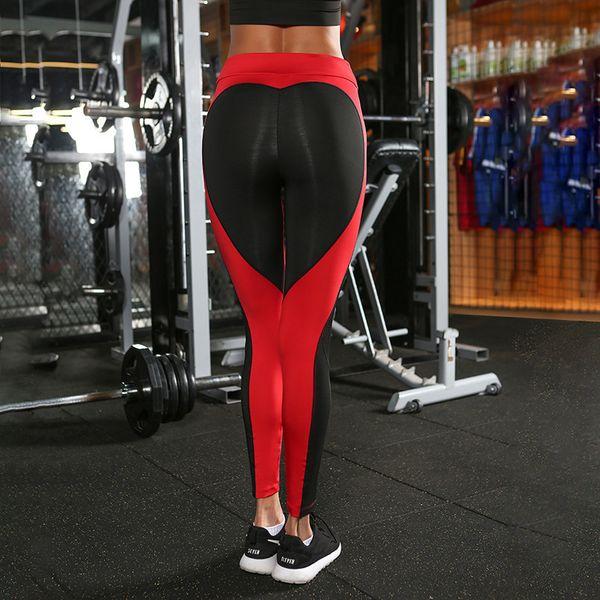 Black Red Heart Pattern Splice Harajuku Athleisure Fitness Clothing Elastic Sporting Leggings Women Pants Y190603
