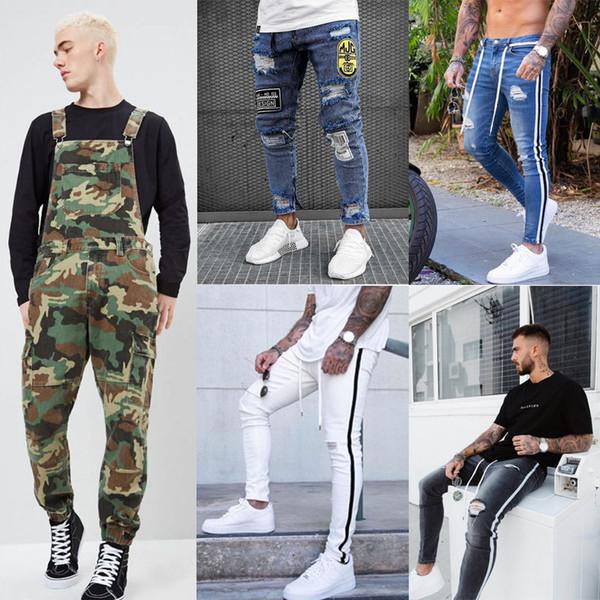 Nouveau Mode Jeans Hommes SKinny Jeans Déchiré Stretch Détruit Effiloché Slim Fit pantalon En Jean Pantalon Homme Pantalon décontracté Pantalon long