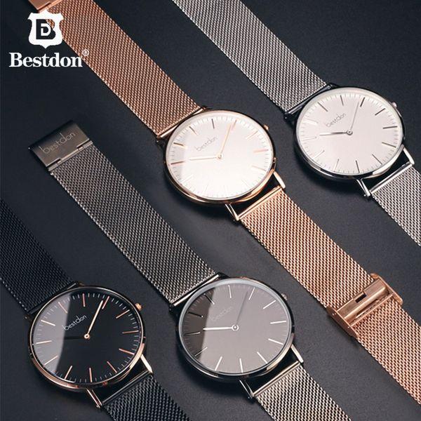 Bestdon Luxo 5.5mm Casal Ultra-fino Assista Quartz Fine Gold relógios para homens mulheres à prova d 'água Moda senhoras marcas de venda preto