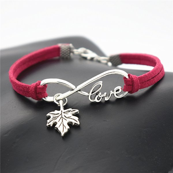 Infinity Love Plant Tree Leaves Maple Leaf Rose Red Leather Suede Bracelets Women Men Jewelry Vintage Charm Bangles Female Male Jewelry Gift
