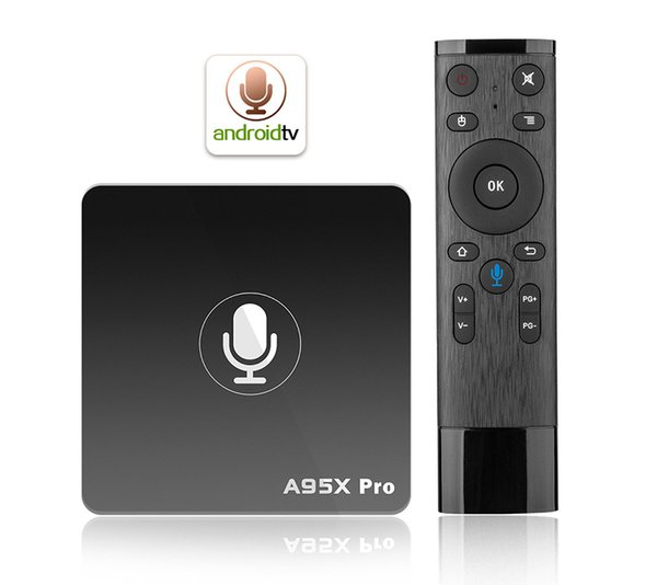 A95X pro Android 7.1 Smart TV Box Quad Core 2GB RAM 16GB ROM 2.4G Wifi Androidtv Google OS Voice Control Smart Media Player 10pcs DHL