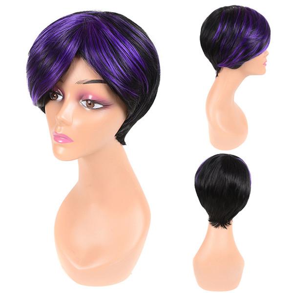 Moda esponjosas explosiones oblicuas de color púrpura negro peluca de pelo corto estilo de Bob para las niñas elegantes, pelucas sintéticas de fibras químicas