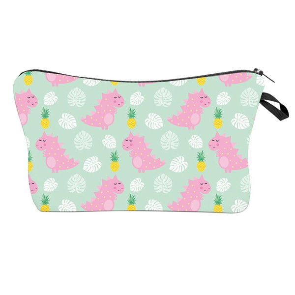 Cartoon Dinosaur Pineapple Print Women Cosmetic Bag Waterproof Cotton Cloth Makeup Bag Storage Pouch