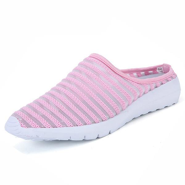 Verão Outono Interior Ao Ar Livre Preguiçoso flip flop Mulheres sandálias Chinelos de Alta Qualidade Respirável Malha Sapatos Mulheres Sandálias Da Família