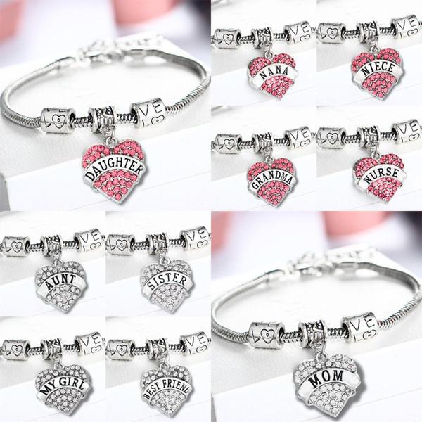 Family Bracelets Mom NANA Grandma Blessed Clear Crystal Moon Bracelets Love Beads Bangles Women Xmas Charm Jewelry Wristband Heart
