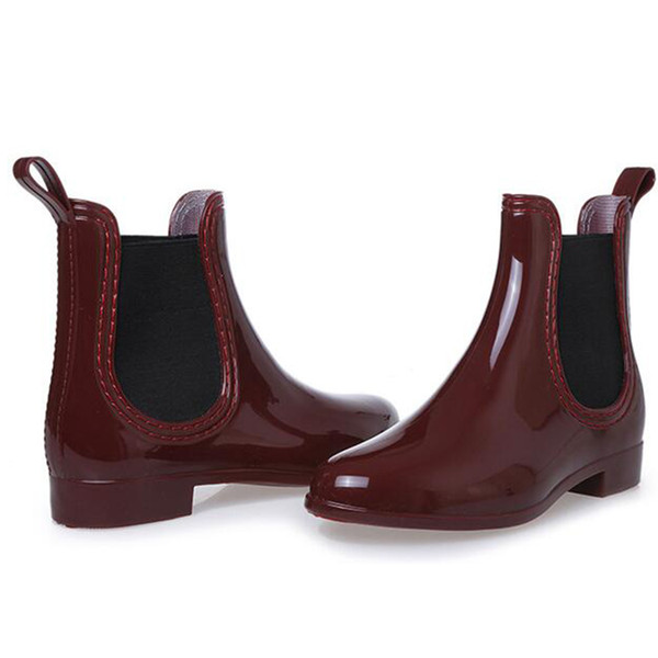 Hot Sale-HOT! Bottes en caoutchouc imperméable Trendy Jelly femmes cheville Botte de pluie bande élastique couleur unie Chaussures de pluie femmes
