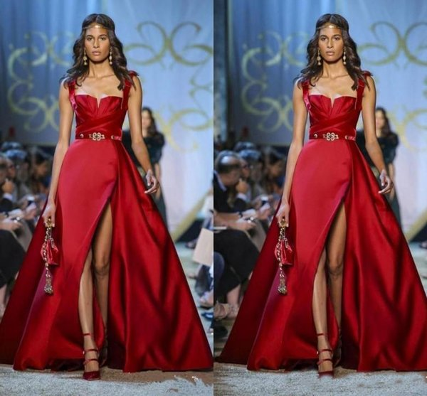 Elie Saab Couture Red Evening Dresses Spaghetti A Line Side Split Prom Dress Formal Party Gowns Special Occasion Dress