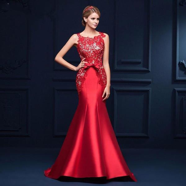 Vestidos vestido de fiesta barato Pura sin respaldo apliques satinado elegante alfombra roja vestidos de noche formal del cordón de la sirena