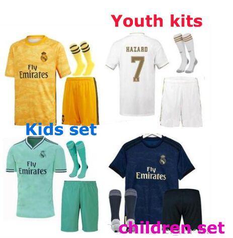 Grosshandel Hazard 7 Camisas De Futebol Kinder 2019 2020 Real Madrid Ausrustung Fussball Trikots Eden Torwartausrustung Real Madrid Fussballtrikots 19 20