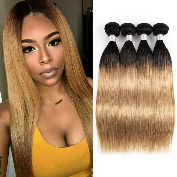 8A Ombre Honey Blonde Hair Weave Bundles Color 1B/27 Brazilian Virgin Straight Hair 3/4 Bundles 10-24 inch Remy Human Hair Extensions