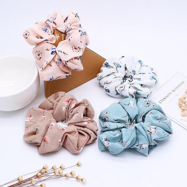 4 Renk Kadınlar Kız Şifon Gül Çiçek Bez Elastik Halka Saç Bağları Aksesuarları At Kuyruğu Tutucu Hairbands Lastik Bant Scrunchies