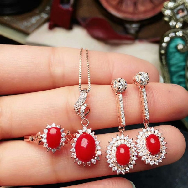 shilovem 925 sterling silver Natural red coral pendants rings earrings women plant party send necklace gift jctz685746agsh