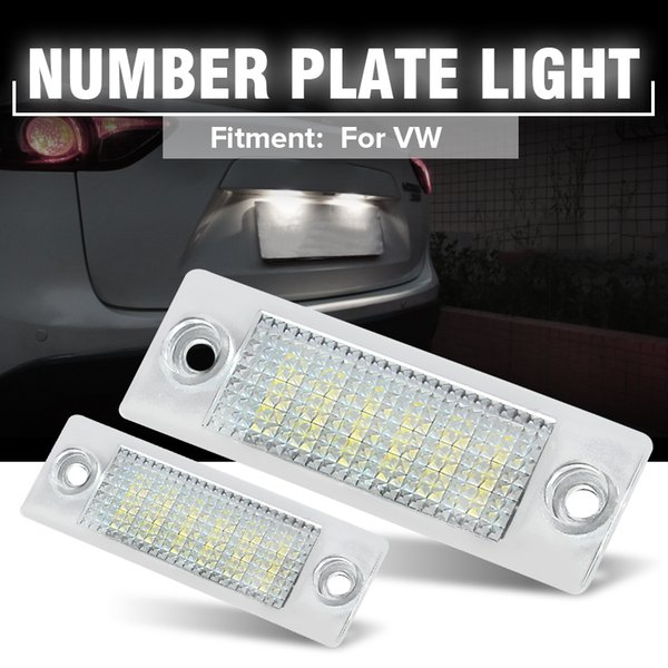 2pcs 12V 18 LEDs Car LED License Number Plate Lights Lamp For VW Transporter T5 Caddy Touran Golf Passat