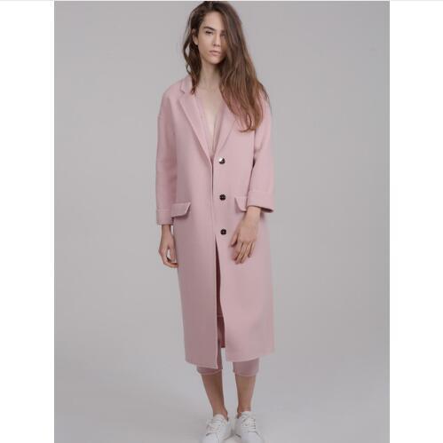 Outono / Inverno Mulheres entalhado lapela Simples Estilo Longo Casaco Feminino de Lã cashmere Casaco manteau femme casaco feminino