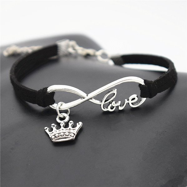 Hot Authentic Silver Infinity Love Infinity Love King Imperial Crown Pendant Charm Bracelet Black Leather Suede DIY Custom Women Men Jewelry