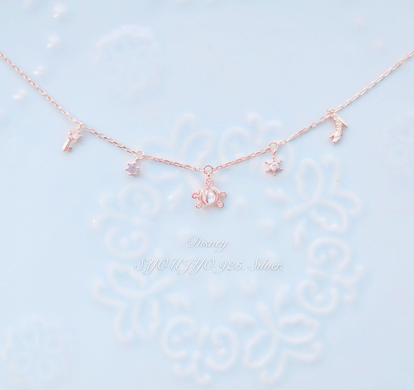 Japanese 925 Silver Pumpkin Car Crystal Bracelet with Diamond Sweet Cinderella Crystal Shoes Girls Handwear