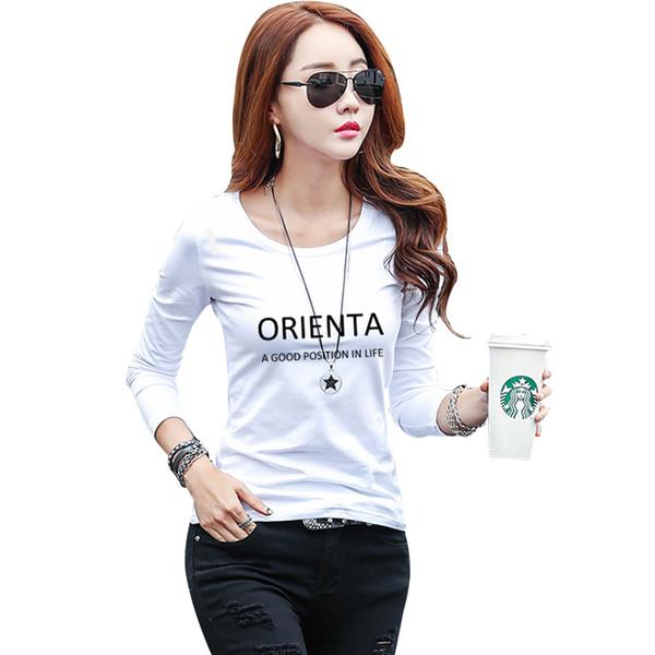Camiseta mujer manga longa camiseta de algodão mulheres queda bottom shirt mulheres o-pescoço slim fit t-shirt feminina casual tops camisetas