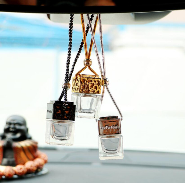 8ML Car Hanging Perfume Rearview Ornament Cube perfume bottle Air Freshener For Essential Oils Diffuser Fragrance Empty Glass Bottle 4 Color
