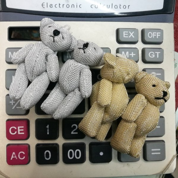60pcs/lot 6CM Sequin Promotion gifts white mini bear plush toy joint teddy bear bouquet doll/cell phone accessories Bright silk