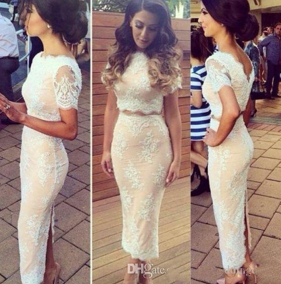 2019 Two Pieces Lace Prom Dresses Short Sleeves Back Slit Sheath Tea Length Homecoming Dresses Short Evening Party Gowns