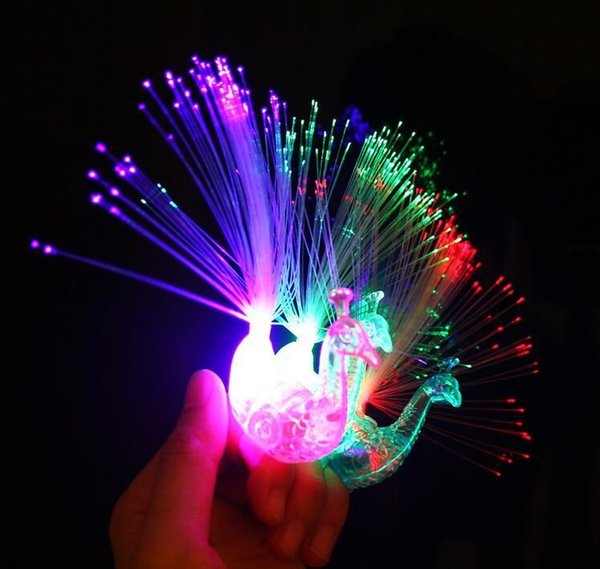 NEW Novelty Design Colorful Light Peacock LED Light-up Finger Toys Best Christmas Halloween Party Gifts