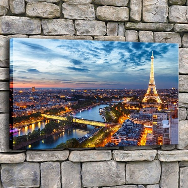 Canvas Printed Poster Wall Art Frame 1 Piece Paris Tower Painting Living Room City Building Dusk Landscape Pictures Home Decor