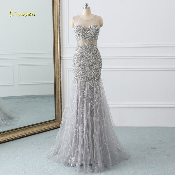 En Gros Sexy Illusion Plumes Longues Sirène Robes De Bal 2019 De Luxe Perlée De Cristal Robe À Paillettes Pour La Robe de soirée De Festa