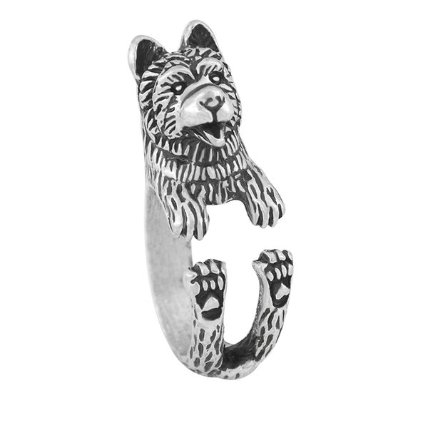 Vintage Silver Gothic Retro Style Funny Chow Chow Dog Ring Anel Boho Chic Animal Rings For Women Men Fashion Jewellery Gift