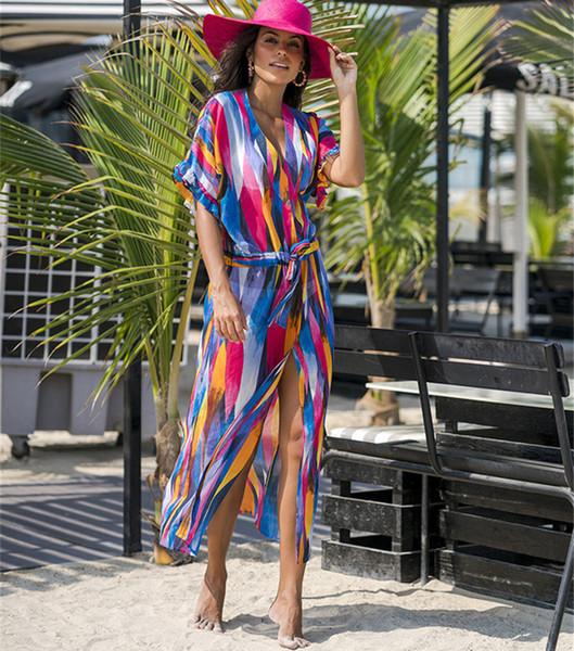 Sommer 2019 neue Chiffon bunte vertikale Streifen gedruckt Strandkleid Urlaub Kleid sexy Bikini Bluse Strand Sonnencreme