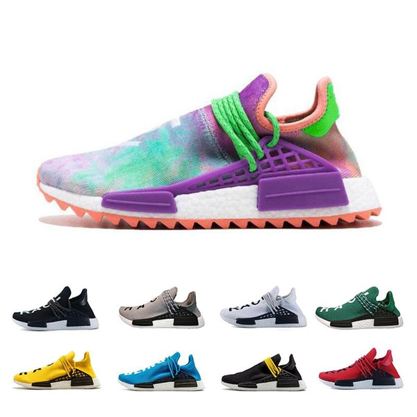 With Box Human Race Mens Running Shoes Pharrell Williams Sample Yellow Core Black Sport Designer Shoes Women Sneakers