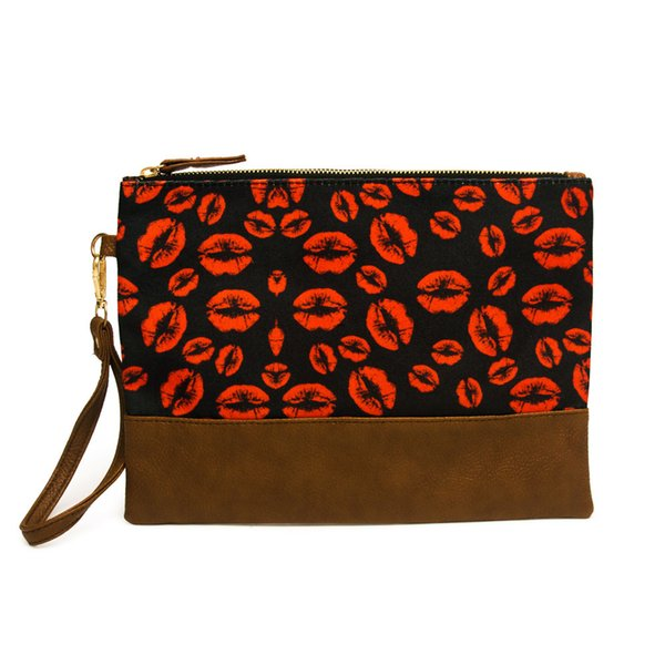 Fashion Make Up Cosmetic Bag Women Soft Canvas and PU Stripe Lips Print Toiletry Bags Wristlet Purse Zipper Pouch Free Shipping